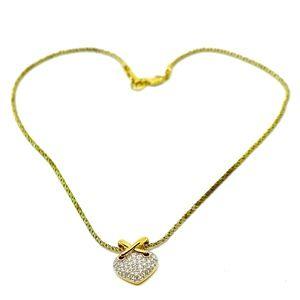 SWAROVSKI~pave heart~GOLD pl PENDANT NECKLACE
